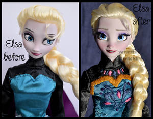 repainted ooak transformation elsa doll.