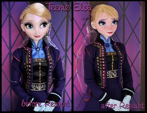 repainted ooak teenie elsa limited edition doll.