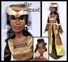 ooak repainted medieval party tiana doll.