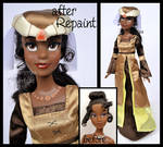 ooak repainted medieval party tiana doll.