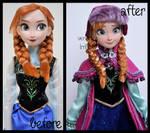 repainted ooak singing snow gear anna doll.