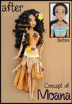 repainted ooak concept of moana waialiki doll.