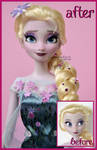 repainted ooak frozen fever elsa doll.
