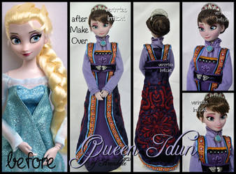 repainted ooak queen idun of arendelle doll.