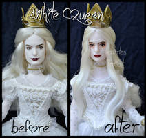repainted ooak mirana, the white queen doll.