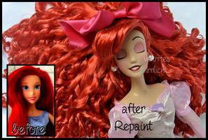 repainted ooak sleeping ariel singing doll.