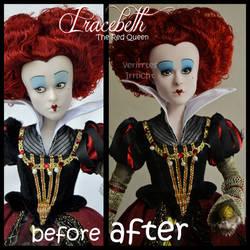 repainted ooak red queen iracebeth doll.
