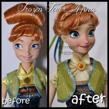 repainted ooak mattel frozen fever anna doll.