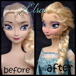 repainted ooak mattel frozen snow queen elsa doll.