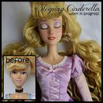repainted ooak sleeping cinderella doll.