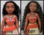 ooak repainted classic moana doll.