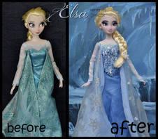 repainted ooak classic snow queel elsa doll.