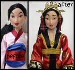 repainted ooak classic mulan doll.