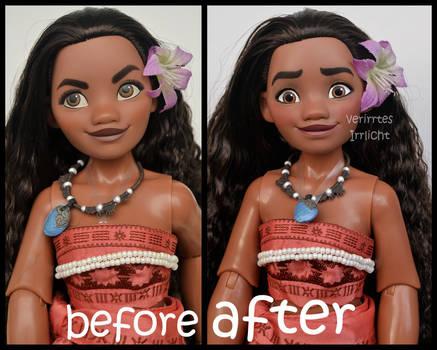 repainted ooak limited edition moana/ vaiana doll.