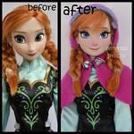repainted ooak snow gear classic anna doll.