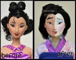 repainted ooak mattel signature mulan doll.