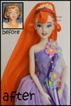 repainted ooak vintage thumbelina doll.
