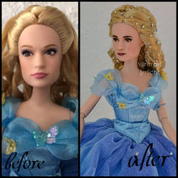 repainted ooak lily james as cinderella doll. by verirrtesIrrlicht