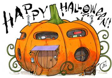 Tiny House Halloween by RandomCushing