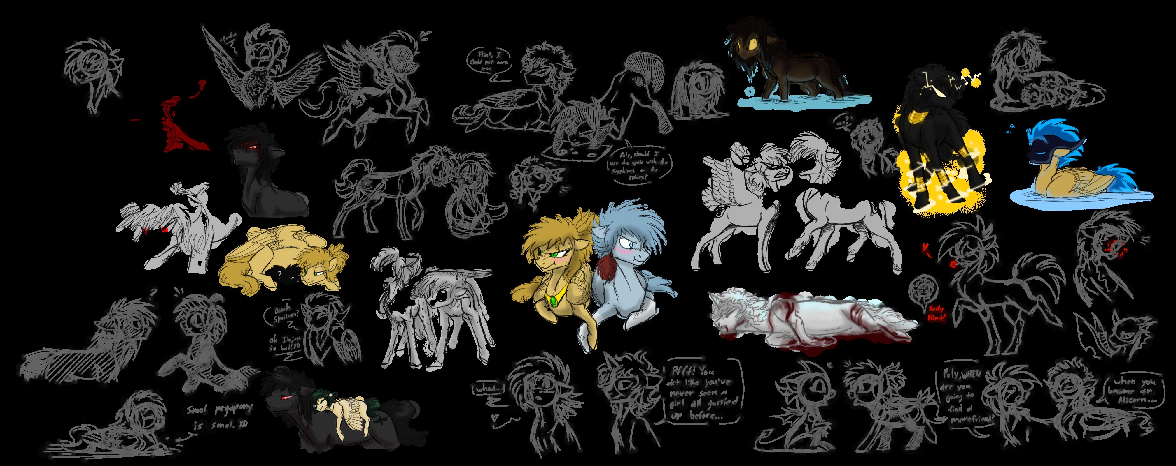 Pony Sketchies 2 by CoffeeAddictedDragon