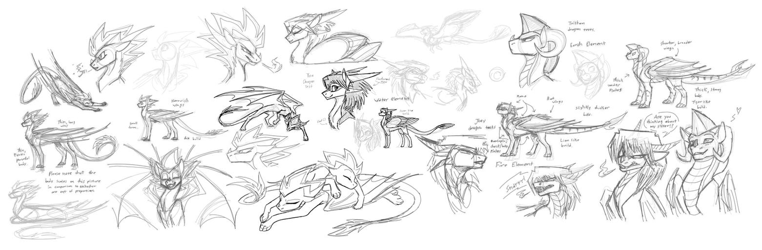 YGO dragon sketches by CoffeeAddictedDragon