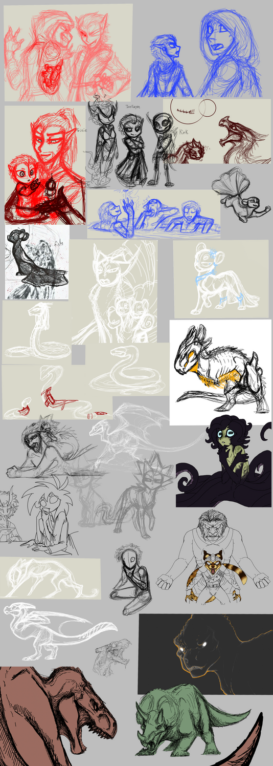 Big Ol Sketchdump of WIPS by CoffeeAddictedDragon