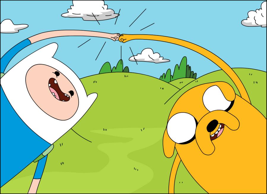 Finn and Jake brofist by SuperTuffPinkPuff