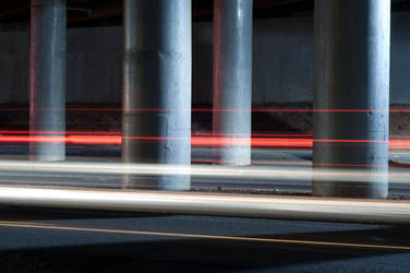 Light Trails and Pillars by reyherphoto