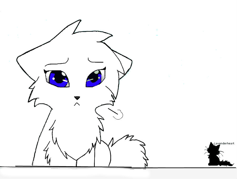 Sad Cat Lineart By: Lavenderheart By 123abccat On DeviantArt