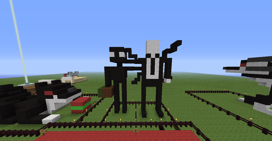 slenderman and enderman minecraft statue by soundforever