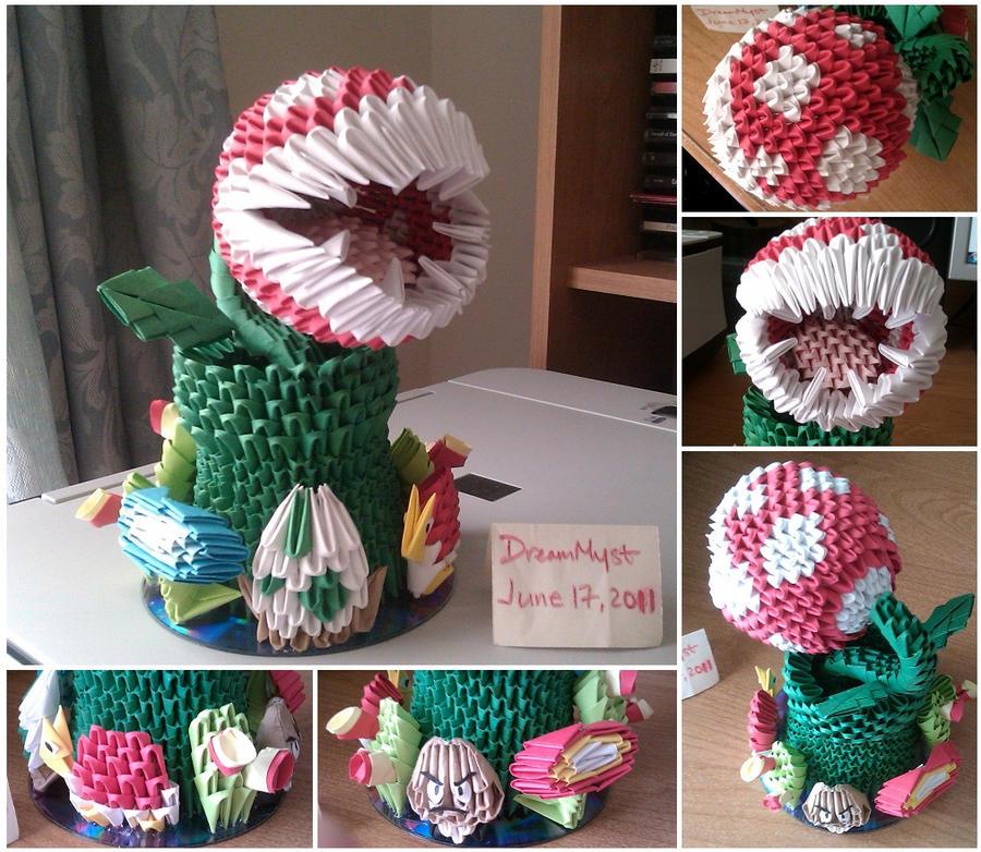 Piranha Plant - 3D Origami by o0DreamMyst0o