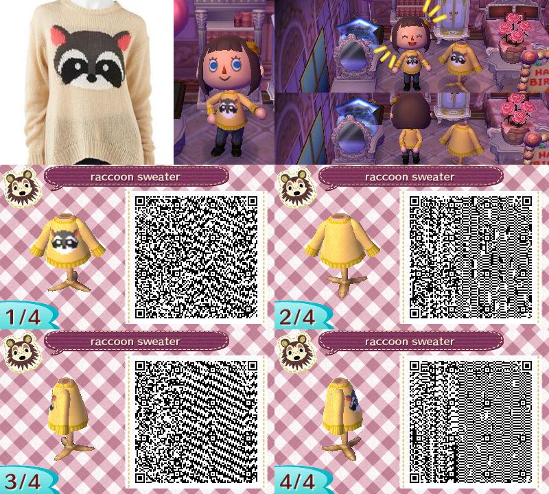 ACNL QR Code - Raccoon Sweater by khimerra