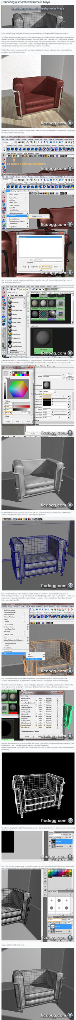 Rendering wireframe in Maya by ficdogg