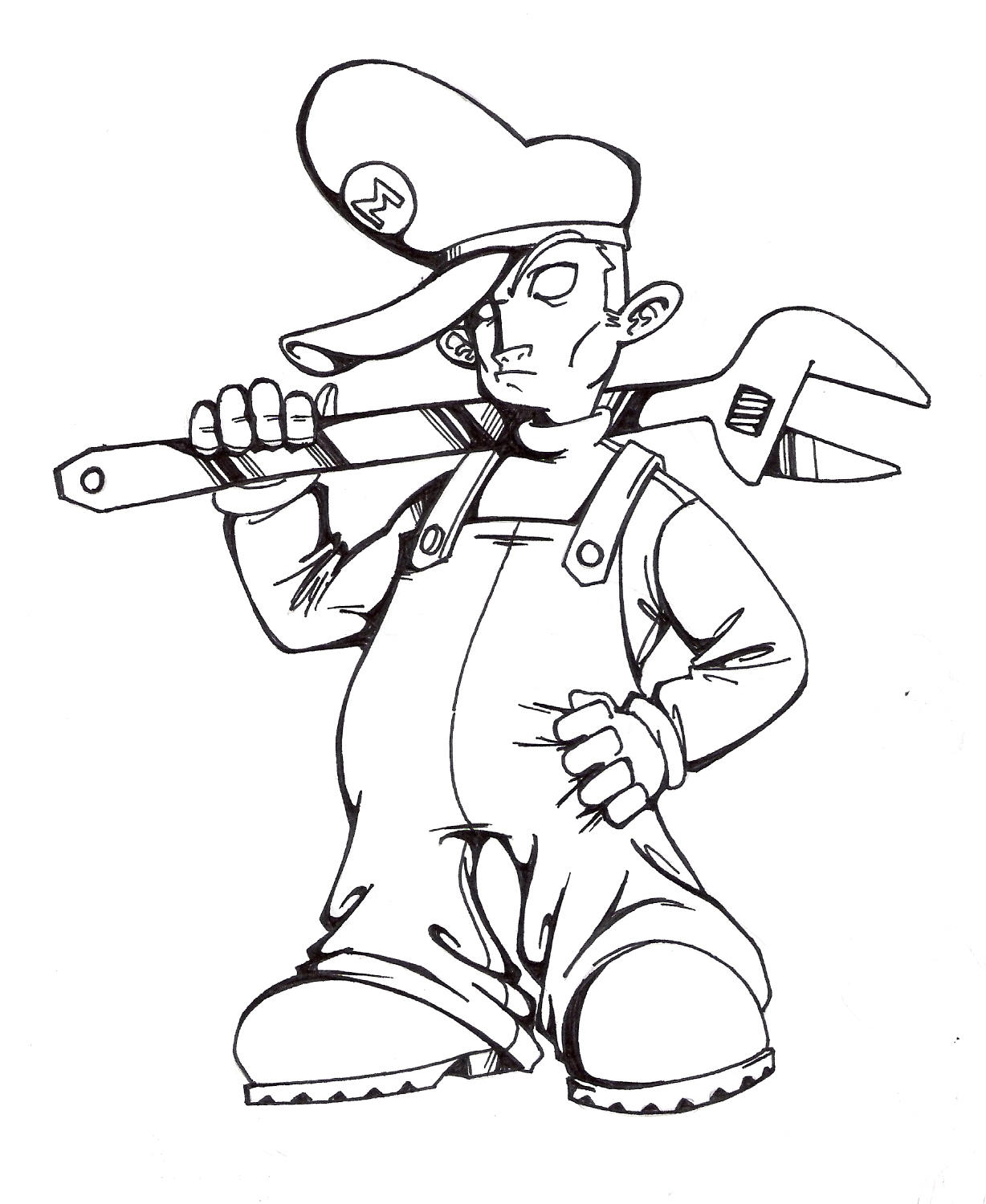 Gangster Mario Free Coloring Pages