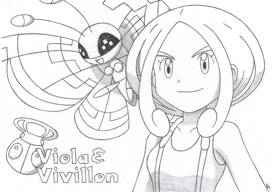 Viola and Vivillon of Santalune City by TheWhiteScatterbug