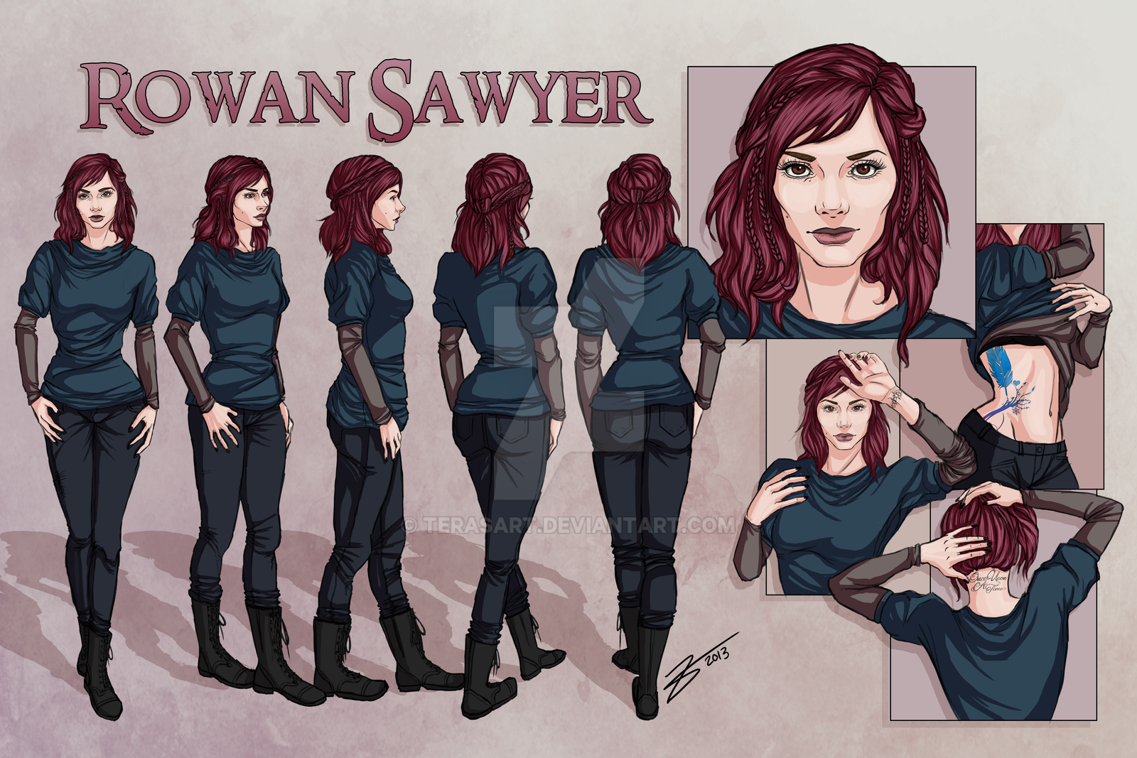 Nbos Character Sheet Designer Review : Rowan sawyer character reference sheet by terasart on