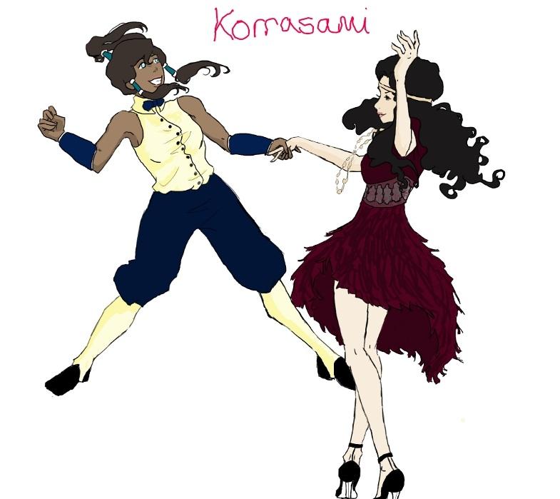Korra and Asami Swing dancing by becksatiger