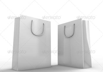 Blank white shopping bag isolated on white by oilusionista-stock