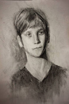 Portrait study in charcoal