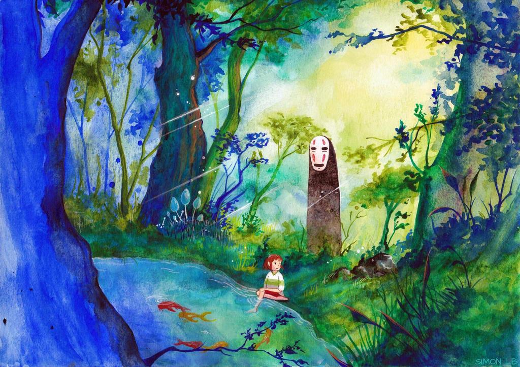 Chihiro and No-face (Spirited Away) by SimonLB