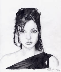 Angelina Jolie Portrait by kildeh