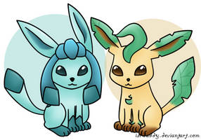 Glaceon Leafeon by Isi-Daddy