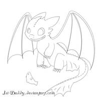 lineart: Toothless by Isi-Daddy