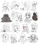 OC Sketchdump 06 - Expression Challenge by Isi-Daddy