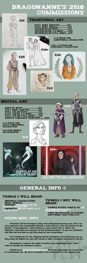 Updated Commission Prices for 2018