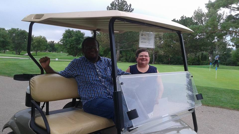 Riding on the golf cart by mylesterlucky7