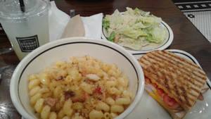 Club panini, mac and cheese and salad
