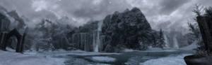 Skyrim Panoramic Dual Wallpaper - Ice Falls