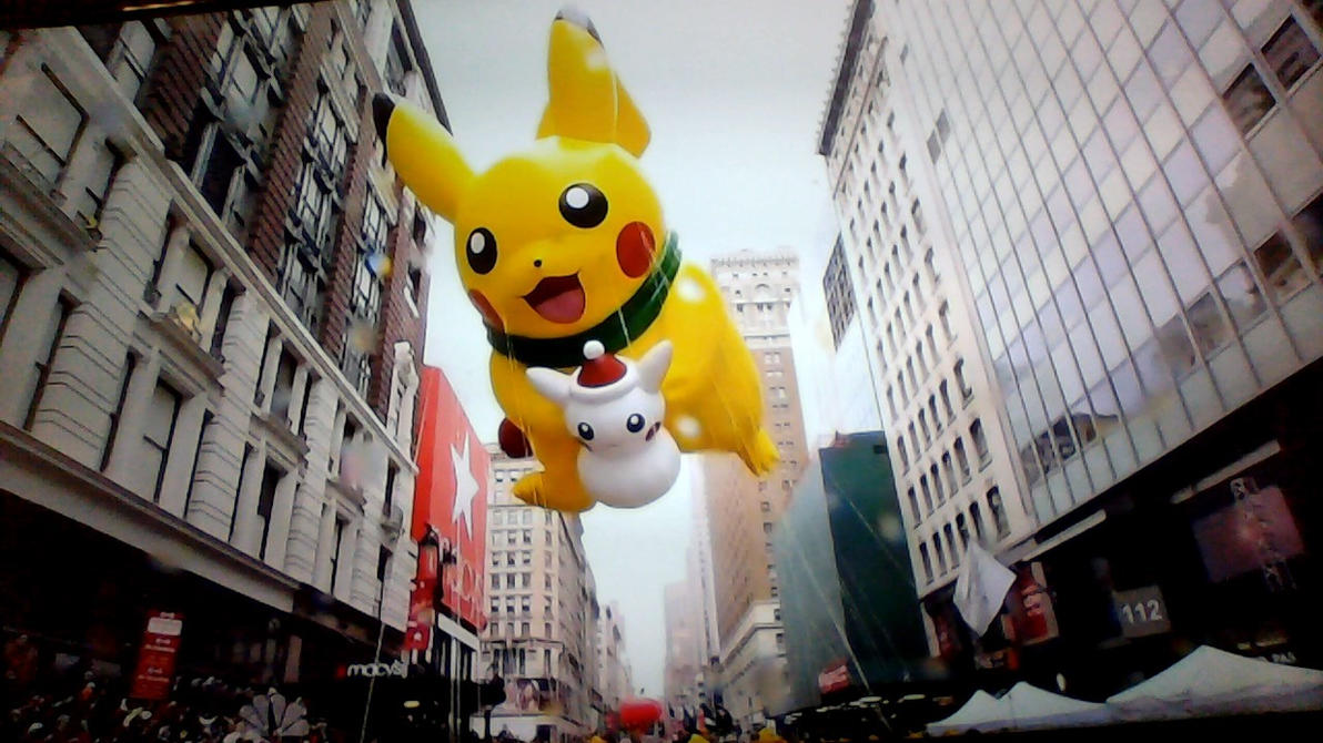 Macy's pikachu balloon by SalamenceCake