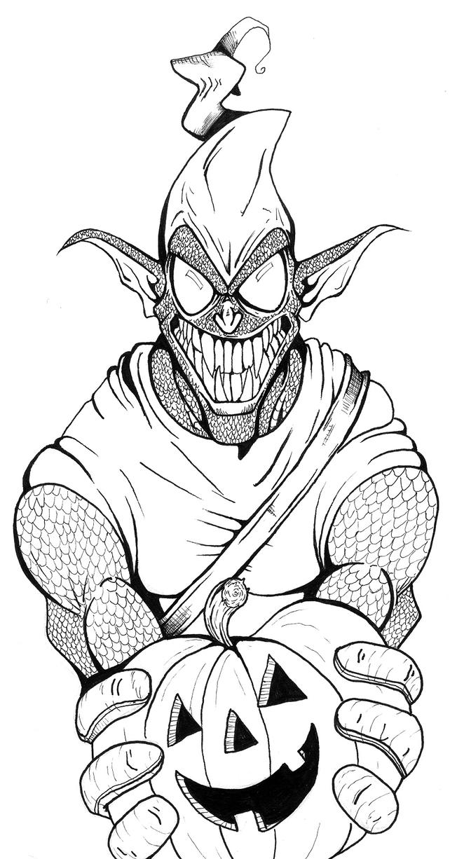 Green Man Drawings Sketch Coloring Page